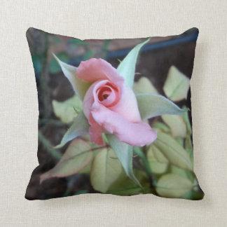 Custom Pillow pink rose bud