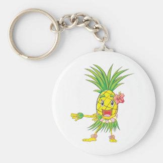 Custom Pineapple Hula Dancer Dancing Basic Round Button Keychain