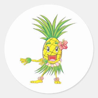 Custom Pineapple Hula Dancer Dancing Classic Round Sticker