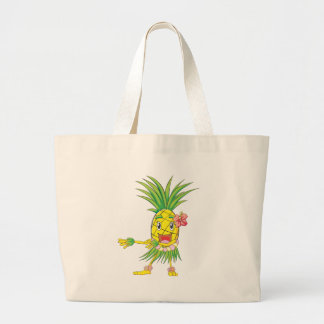 Custom Pineapple Hula Dancer Dancing Large Tote Bag