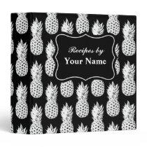 Custom pineapple pattern recipe binder cook book