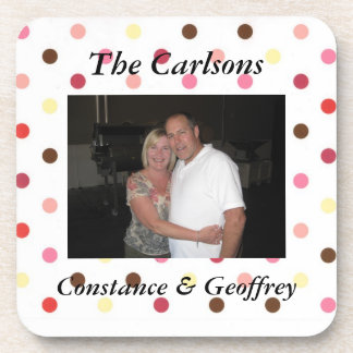 Custom Pink and Brown Dot  Photo Personalized Coaster