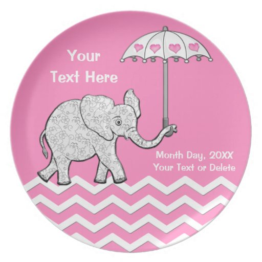Custom pink and gray elephant baby shower plates zazzle for Baby mobile pink and grey