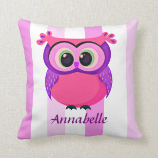 custom pink and lilac owl on a stripes background throw pillow