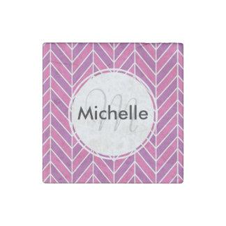 Custom Pink and Purple Herringbone Pattern Stone Magnet
