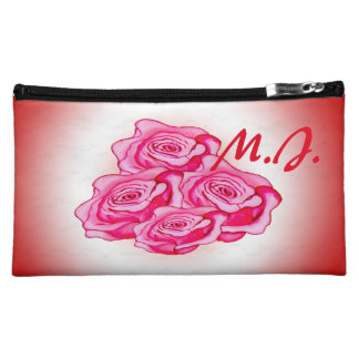 Custom pink and red rose bouquet cosmetic bag