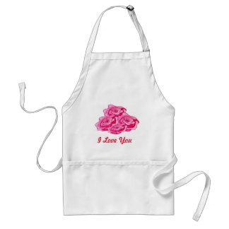 Custom pink and red roses bouquet adult apron