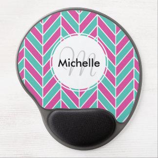 Custom Pink and Turquoise Herringbone Pattern Gel Mousepad