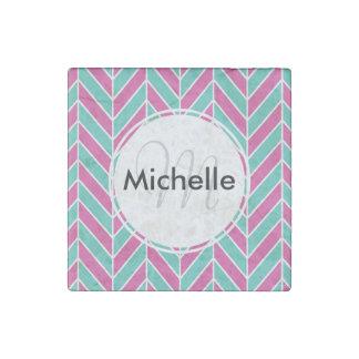Custom Pink and Turquoise Herringbone Pattern Stone Magnet