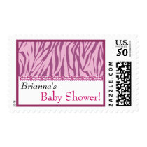 Custom Pink and White Zebra Print Baby Shower Postage