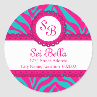 CUSTOM Pink Aqua Zebra Stripes and Lace Monogram Classic Round Sticker