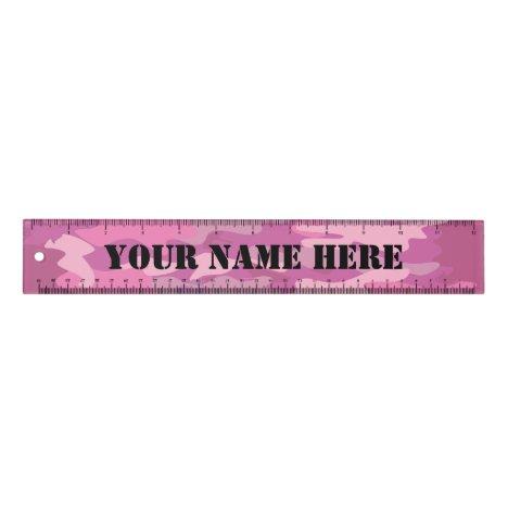 Custom pink army camo 12 inch ruler for school