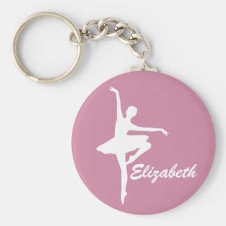 Custom Pink Ballerina Basic Round Button Keychain