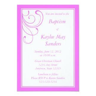 "Custom Pink Baptism Invitation or Other Event 5"" X 7"" Invitation Card"