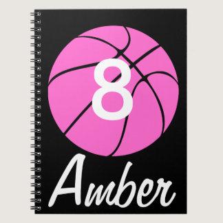 Custom Pink Basketball Spiral Notebook