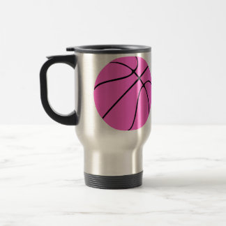 Custom Pink Basketball Travel Mug
