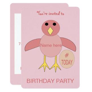 Custom Pink Birthday Girl Chick Party Invitation