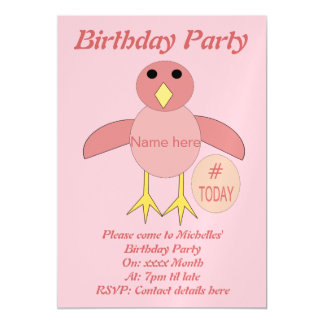 Custom Pink Birthday Girl Chick Party Invites