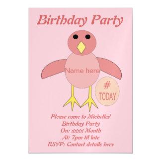 Custom Pink Birthday Girl Chick Party Invites