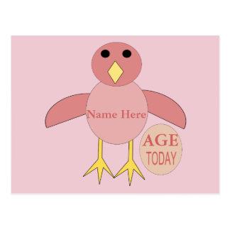 Custom Pink Birthday Girl Chick Postcard