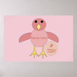 Custom Pink Birthday Girl Chick Poster