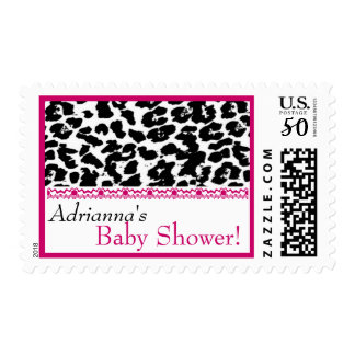 Custom Pink Black White Leopard Print Baby Shower Postage