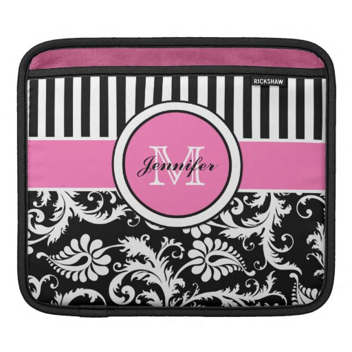 Custom Pink, Black, White Striped Floral Damask Sleeves For iPads
