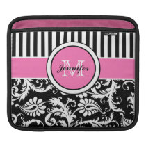 Custom Pink, Black, White Striped Floral Damask Sleeve For iPads