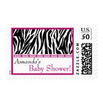 Custom Pink Black White Zebra Print Baby Shower Postage