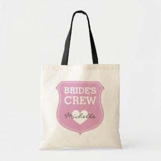 Custom pink brides crew wedding tote bags budget tote bag
