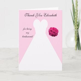Custom Pink Bridesmaid Thank You Card