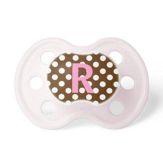 Custom Pink & Brown Monogram Baby Pacifier