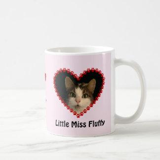 Custom pink cat photo paw prints memory coffee mug