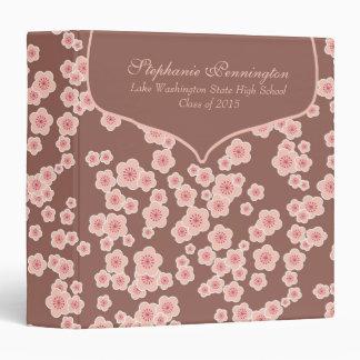 Custom pink cherry blossom graduation memory book 3 ring binder