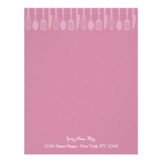 Custom pink cooking utensils letterhead stationery