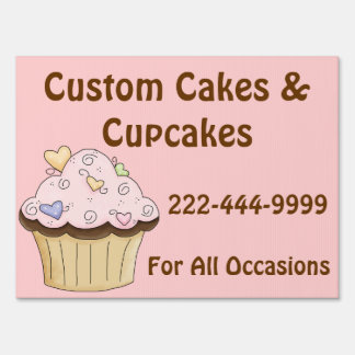 Custom Pink Cupcake Business Yard Sign