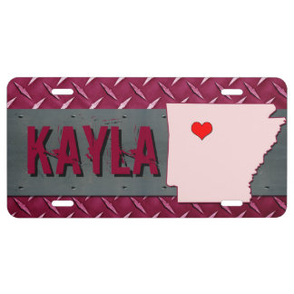 Custom Pink Diamond Plated Heart State of Arkansas License Plate