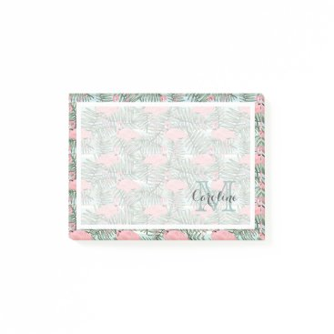 Custom Pink Flamingoes Palm Leafs Pattern Post-it Notes