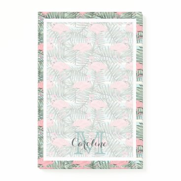Beach Themed Custom Pink Flamingoes Palm Leafs Pattern Post-it Notes