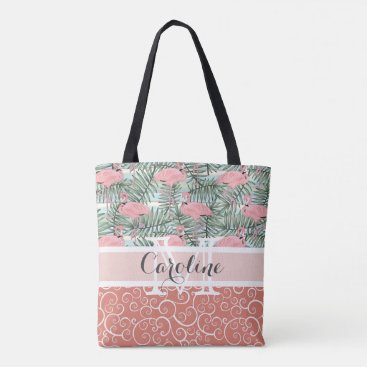 Beach Themed Custom Pink Flamingoes Palm Leafs Pattern Tote Bag
