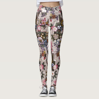 Custom pink floral exercise leggings