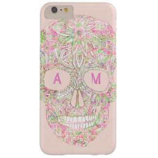 Custom pink floral paisley sugar skull sketch barely there iPhone 6 plus case