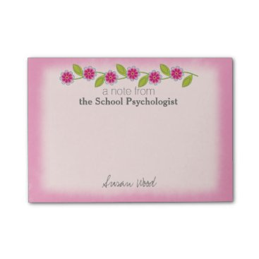 Beach Themed Custom Pink Floral School Psych Post-it® Notes