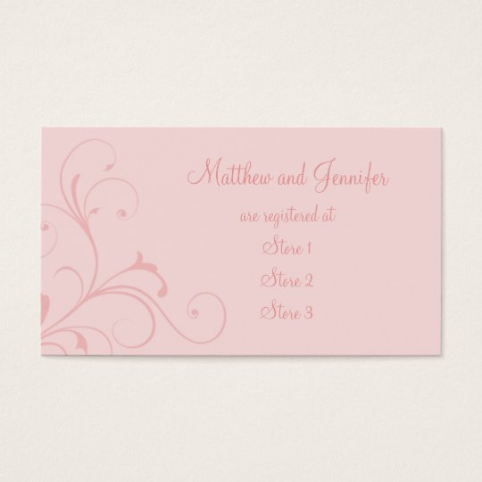 Custom Pink Flourish Wedding Gift Registry Cards