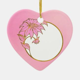 CUSTOM PINK FLOWER FRAME - LOVELY PINK Double-Sided HEART CERAMIC CHRISTMAS ORNAMENT