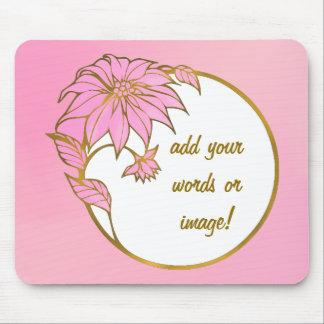 CUSTOM PINK FLOWER FRAME - LOVELY PINK MOUSE PAD