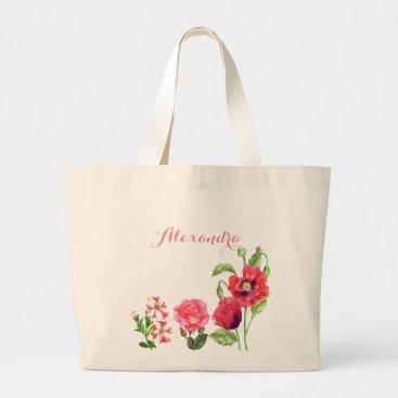 Professional Business Custom Pink Flowers Floral Art Large Tote Bag