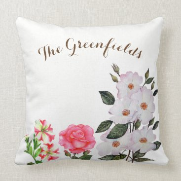 Professional Business Custom Pink Flowers Throw Pillow