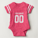 Custom Pink Football Jersey Number Baby Bodysuit at Zazzle