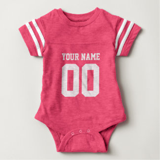 Custom pink football jersey number baby bodysuit